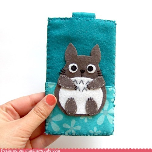 case,felt,handmade,iphone,totoro