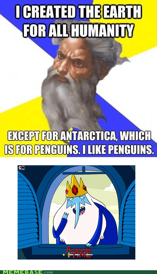 adventure time,antartica,humanity,penguins,Troll God