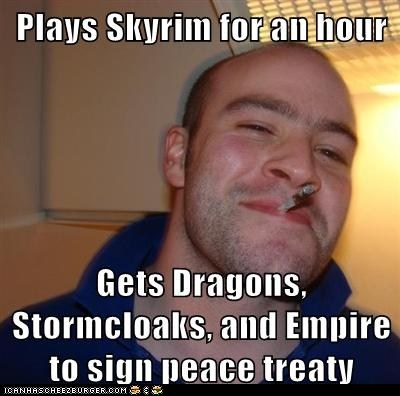 doesnt-need-to-choose-a-side,Good Guy Greg,meme,peace treaty,Skyrim