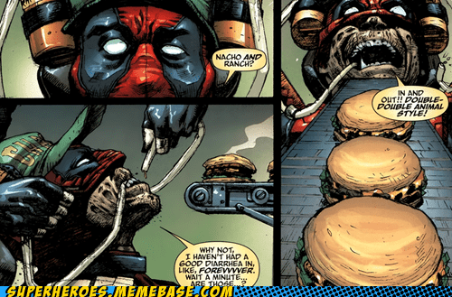 cheezburger deadpool fatty food Straight off the Page