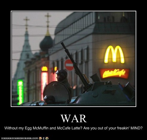McDonald's,poltical pictures,soldiers,tanks,war