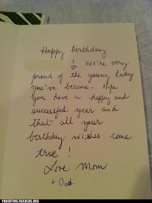birthday card dad mom young lady