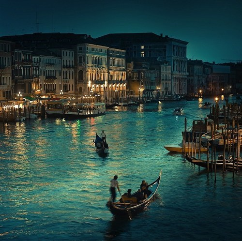 canal,gondola,Italy,night