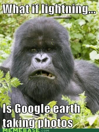 conspiracy keanu,google earth,gorilla,lightning