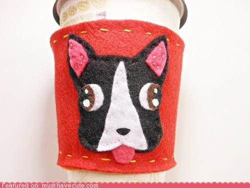 boston terrier,coffee sleeve,dogs,felt,handmade