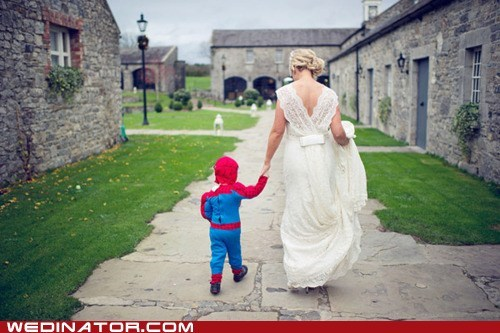 bride children funny wedding photos geek kids Spider-Man