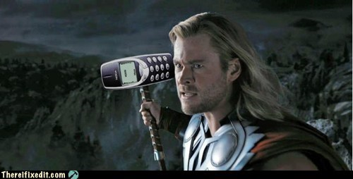brick phone,marvel,nokia,nokia phone,peanut phone,The Avengers,Thor