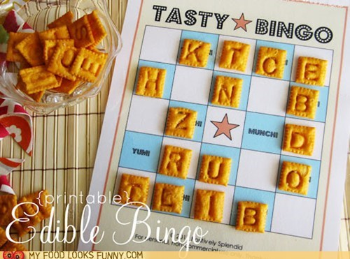 bingo card crackers game letters snack