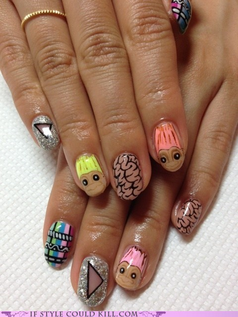 cool accessories,nail art,nails,troll dolls