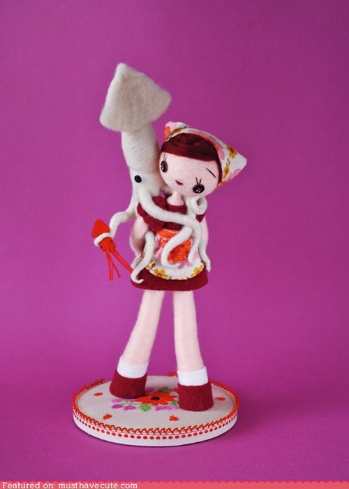 art,felt,girl,piggyback,sculpture,squid,toy