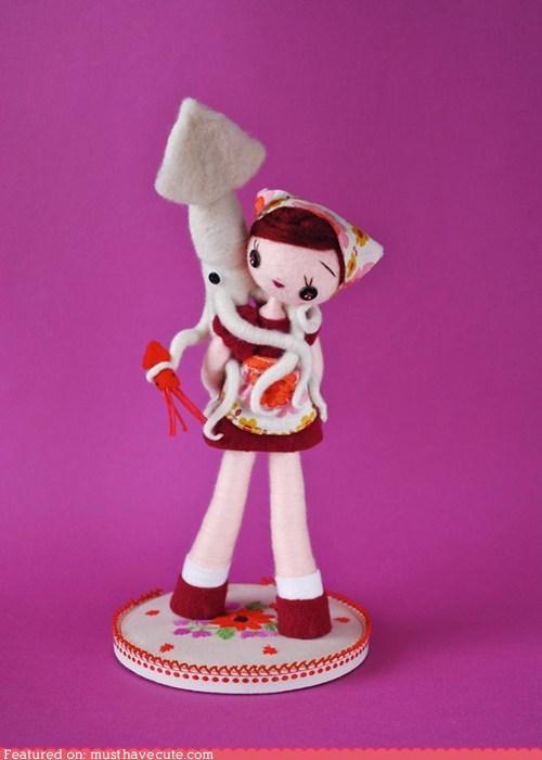 art felt girl piggyback sculpture squid toy - 6210071040