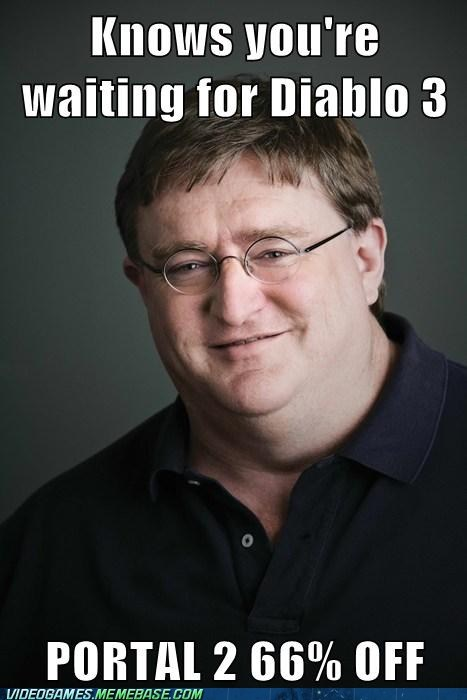 diablo 3,good guy gabe,meme,portal 2,steam,valve
