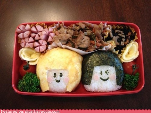 bento,epicute,faces,meat,rice,veggies
