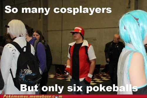 convention,cosplay,IRL,red,six pokeballs