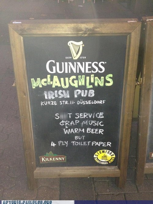 4-ply,crap music,guinness,irish pub,mclaughlins,menu sign,toilet paper,warm beer