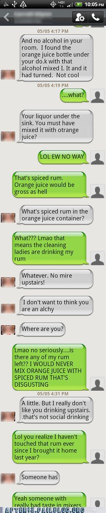 mixer,mom,orange juice,parent,parenting,Rum,sms,texting