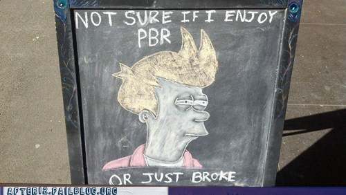 fry,futurama,menu sign,pbr