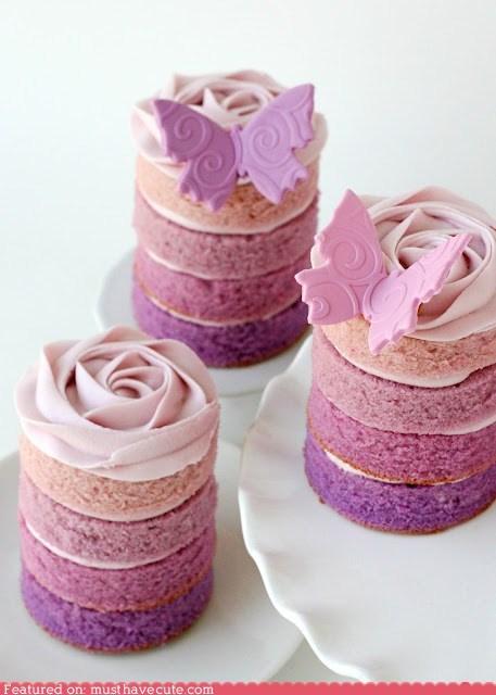 butterflies cakes epicute frosting mini ombre purple - 6210653952