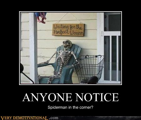 hilarious,sign,skeleton,Spider-Man