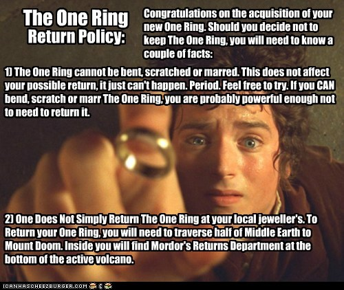 elijah wood,fine print,Frodo Baggins,Lord of The Ring,Lord of the Rings,mordor,one does not,return policy,returns,the one ring