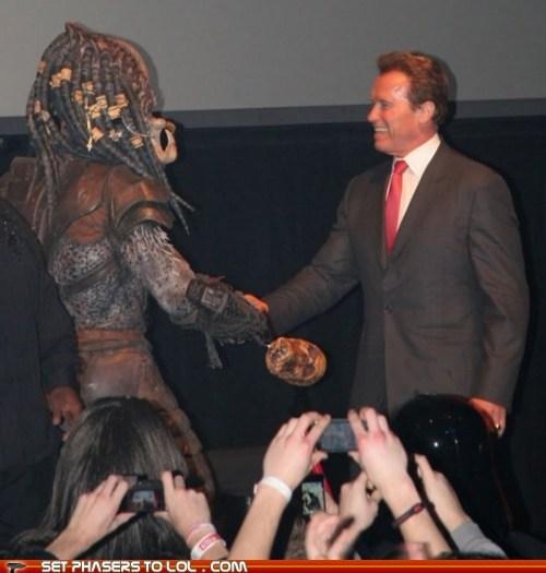 arnold schwartzenegger,friends,handshake,peace,Predator