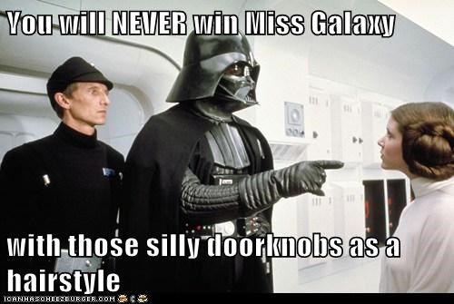 beauty pageant,carrie fisher,darth vader,hairstyle,never,Princess Leia,star wars,win