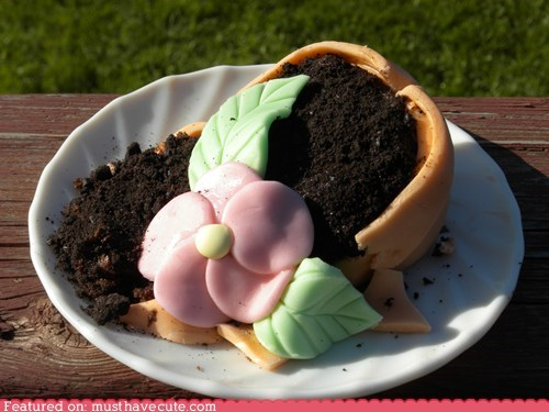 broken chocolate cupcake epicute flower pot fondant - 6211934720