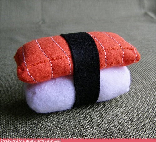 felt,pincushion,salmon,sushi