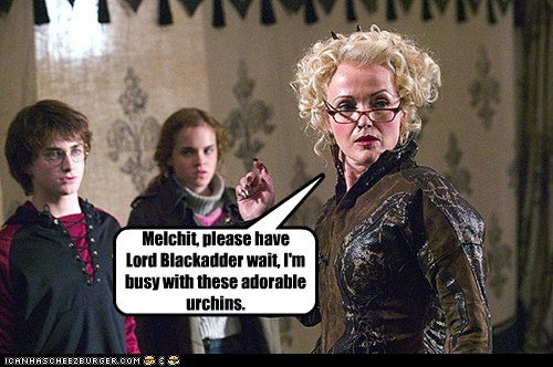 baldrick blackadder british television Daniel Radcliffe emma watson harry Harry Potter hermione granger miranda richardson rita skeeter - 6213057792