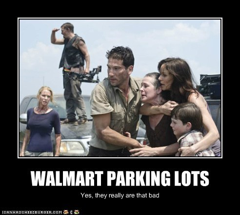 bad,daryl dixon,Jon Bernthal,lori grimes,norman reedus,parking lot,scary,shane walsh,The Walking Dead,Walmart,zombie