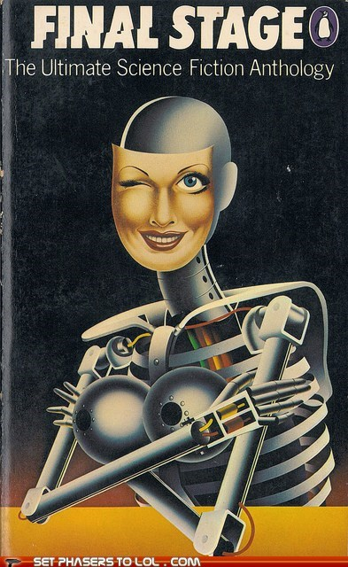 book covers,books,cover art,face,robot,scary,science fiction,winking,wtf