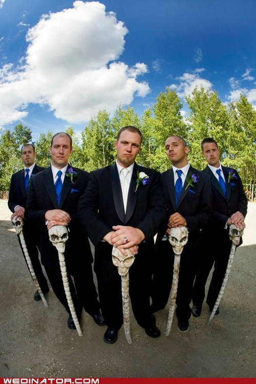 canes,funny wedding photos,groom,Groomsmen,skulls