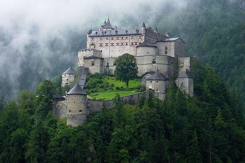 architecture,austria,castle,Forest,Hall of Fame,mist