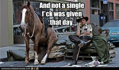 Andrew Lincoln horse not-a-single-fck relax Rick Grimes sitting The Walking Dead