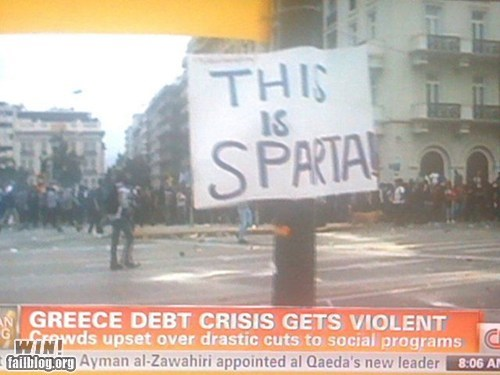 300,clever,greece,Protest,sign,this is sparta