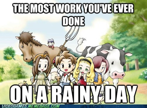 farming harvest moon nostalgia rainy day the feels work