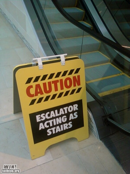 clever,escalator,g rated,mitch hedberg,sign,stairs,win