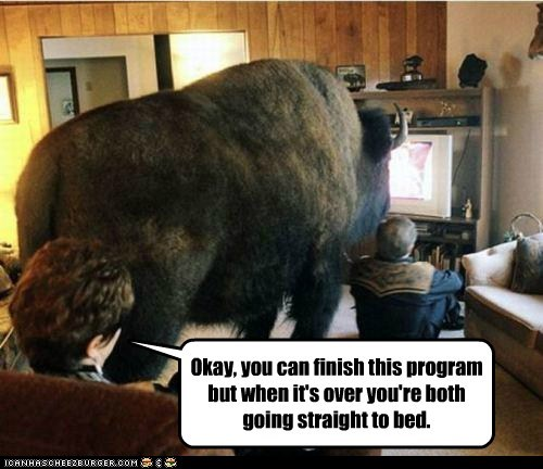 buffalo,finish,go to bed,mom,mothers day,program,watching TV