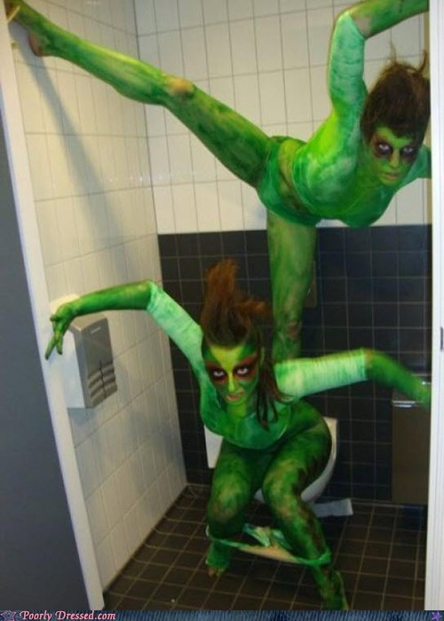 bathroom,costume,green,whoops