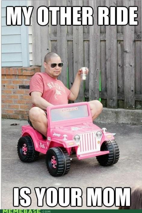 Barbie jeep Memes mom ride