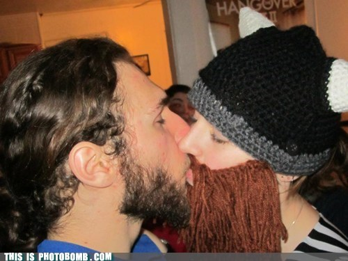 Awkward,couple,fake beard,jealous,kinda gross,KISS