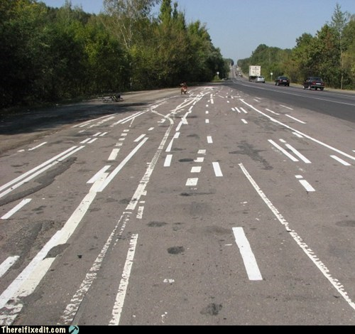 accident car crash confusing highway lane lanes paint job traffic lanes - 6215449856