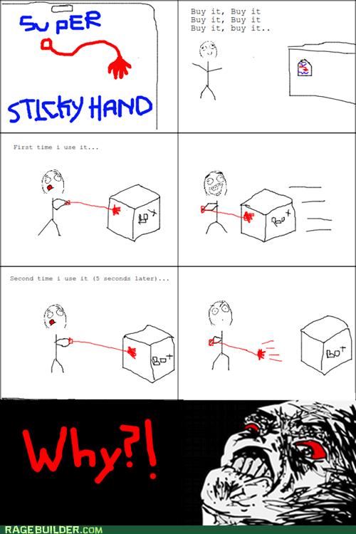 Rage Comics,raisin rage,sticky,sticky hand