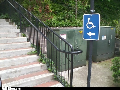 handicapped sign stairs
