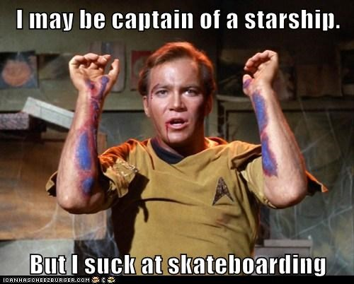 bruises,captain,hurt,scrapes,Shatnerday,skateboarding,Star Trek,starship,William Shatner