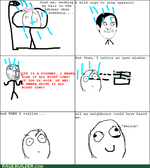 Rage Comics shame showertime singing spiderpman - 6216108288