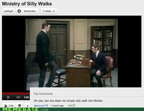 england,Lord of the Rings,monty python,One Does Not Sim,one does not simply,silly walk