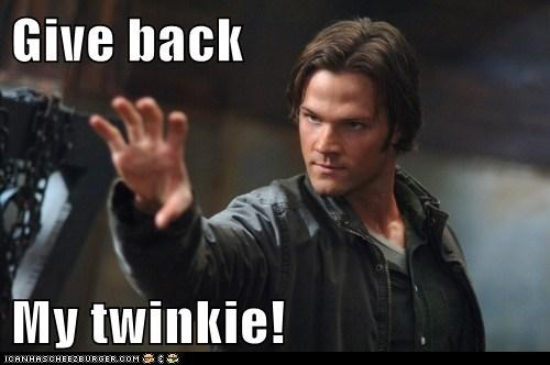 give it back,Jared Padalecki,reaching,sam winchester,Sanctuary,Supernatural,taken away,twinkie