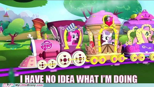 i have no idea what im doing,meme,pinkie pie,Sweetie Belle,train