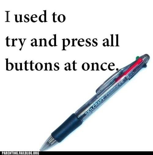 buttons multi-colored nostalgia pen
